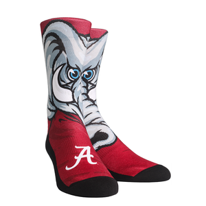 Rock 'Em Elite, Alabama Crimson Tide - Big Al Mascot, Licensed Crew Socks