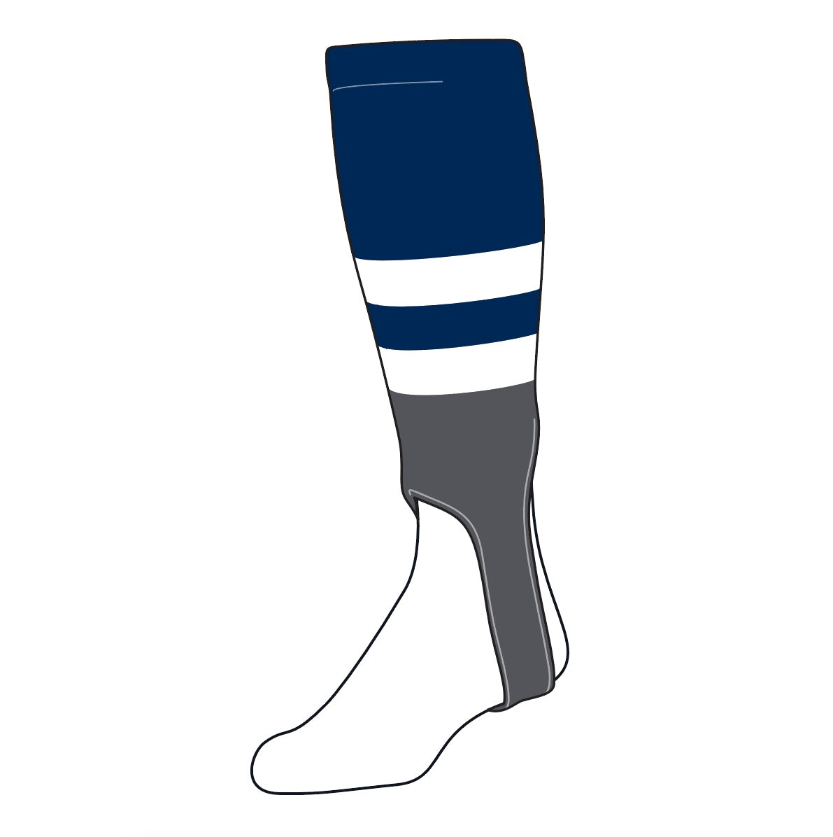 TCK Baseball Stirrups Medium (200G, 5in) Navy, White, Graphite