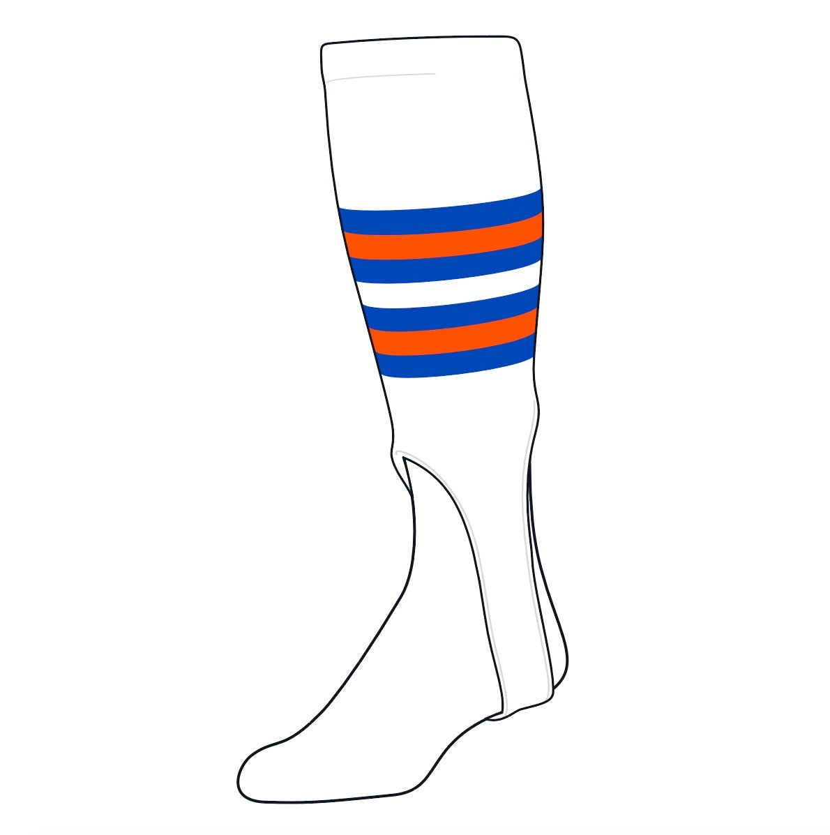 TCK Baseball Stirrups Medium (200I, 7in) White, Air Force Blue, Orange