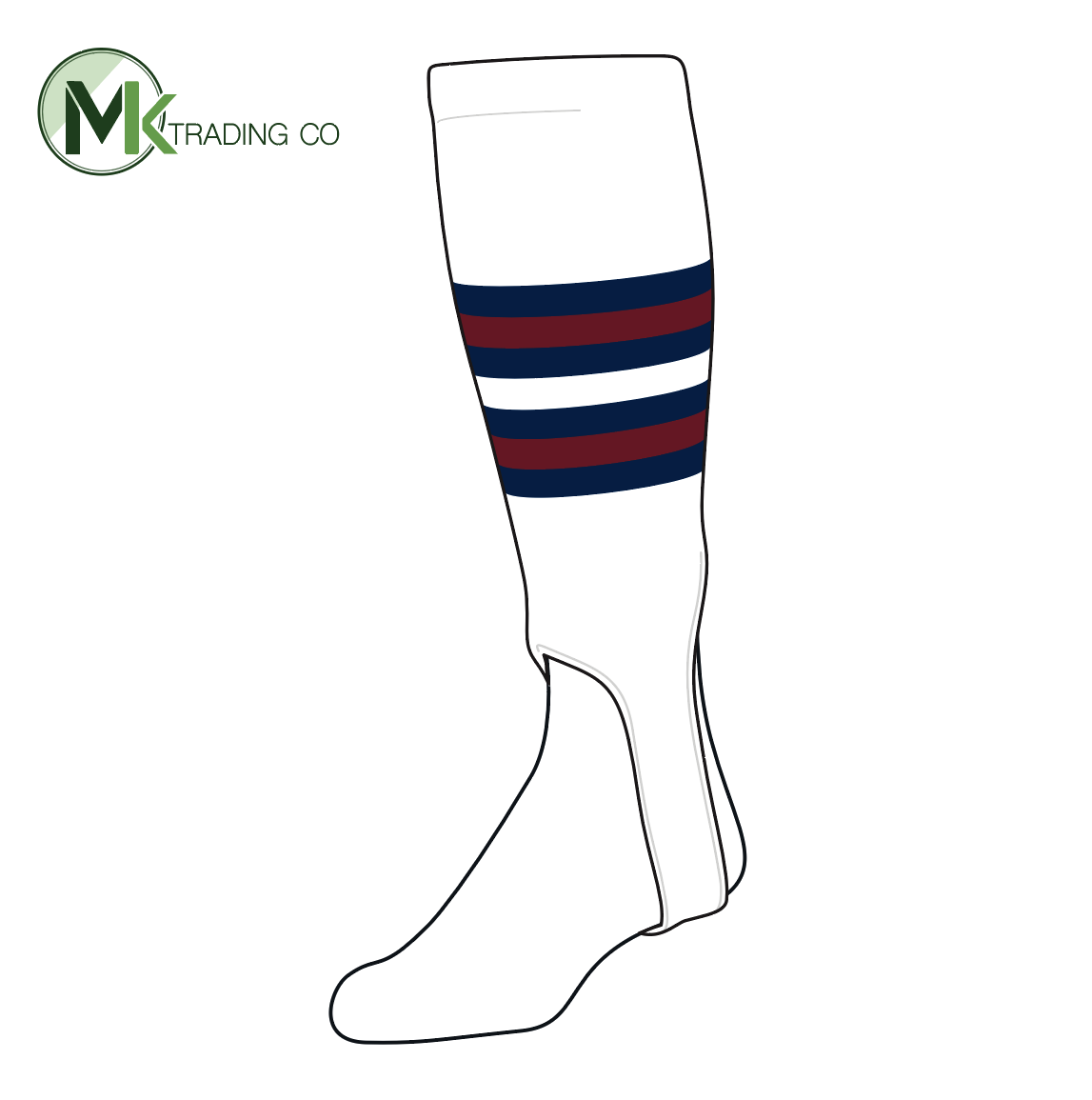 TCK Baseball Stirrups Medium (200I, 5in) White, Navy, Cardinal