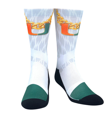 Rock Em Miami Hurricanes Turnover Chain White Out NCAA Crew Socks