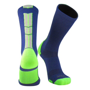 TCK Baseline 3.0 Elite Navy Neon Green Grey Basketball Football Crew Socks