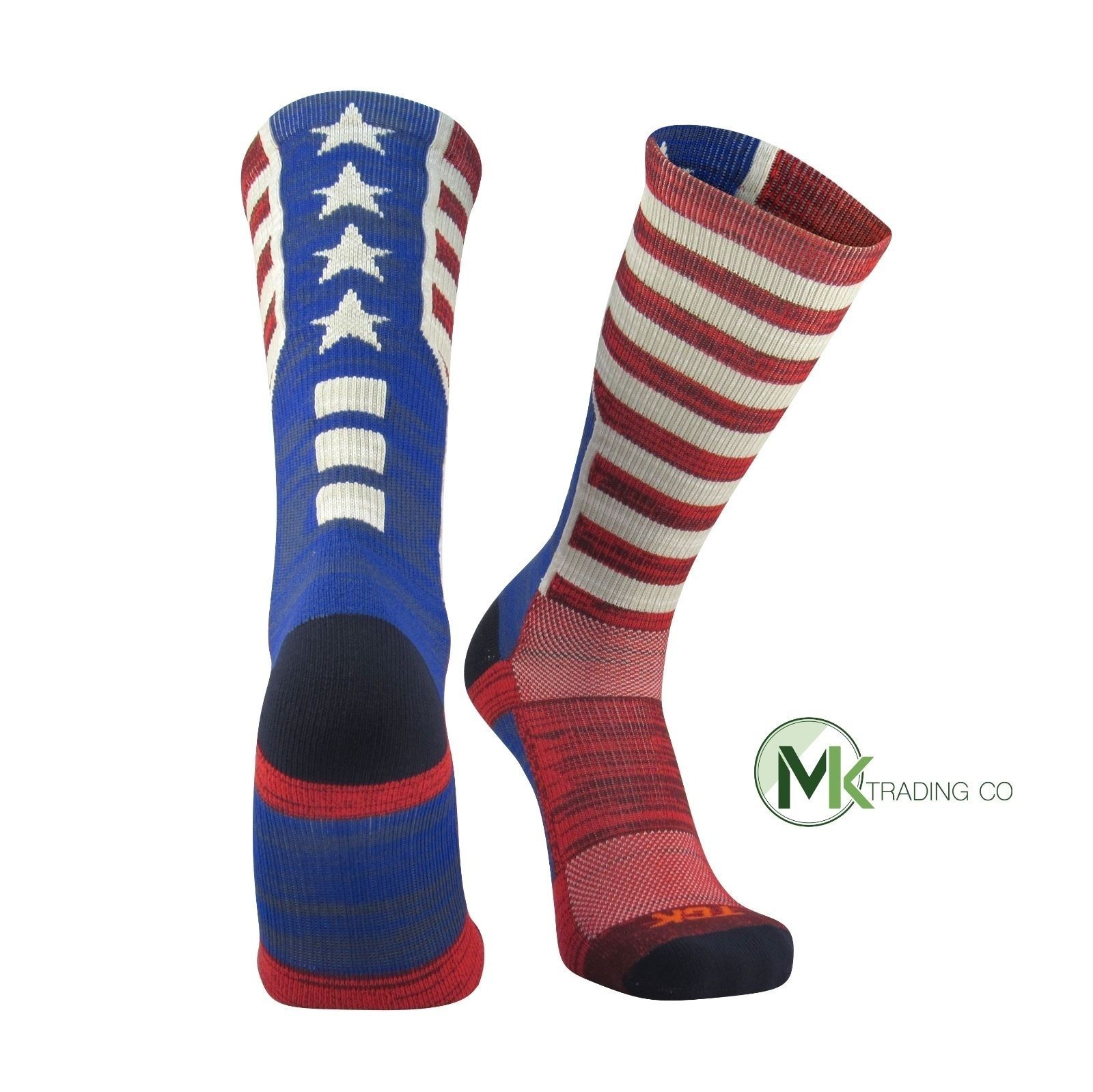 TCK USA Old Glory Flag, Heather, Red White Blue, Basketball Football Crew Socks