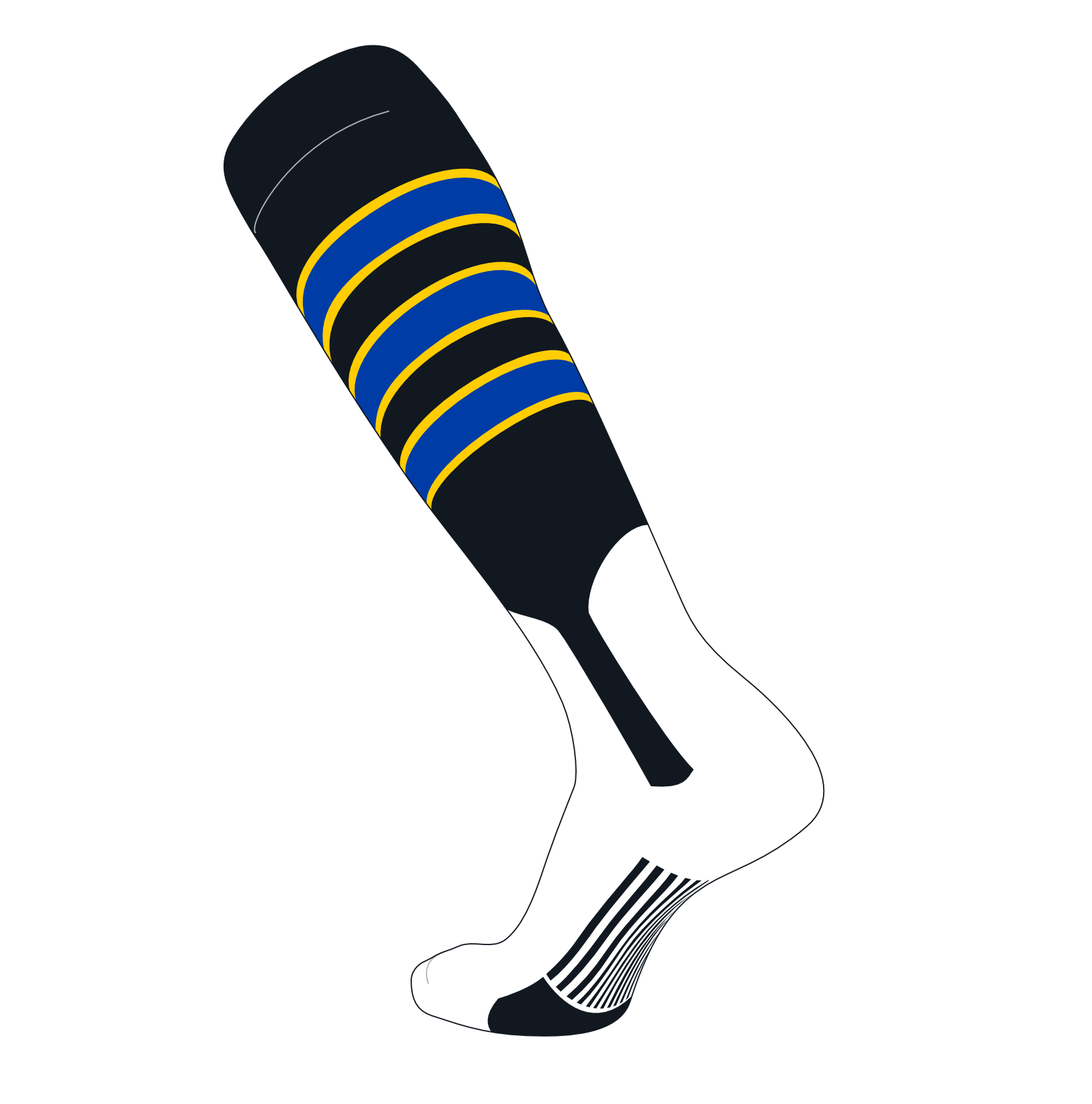 TCK Elite Baseball Knee High Stirrup Socks (D, 7in) Black, Gold, Royal