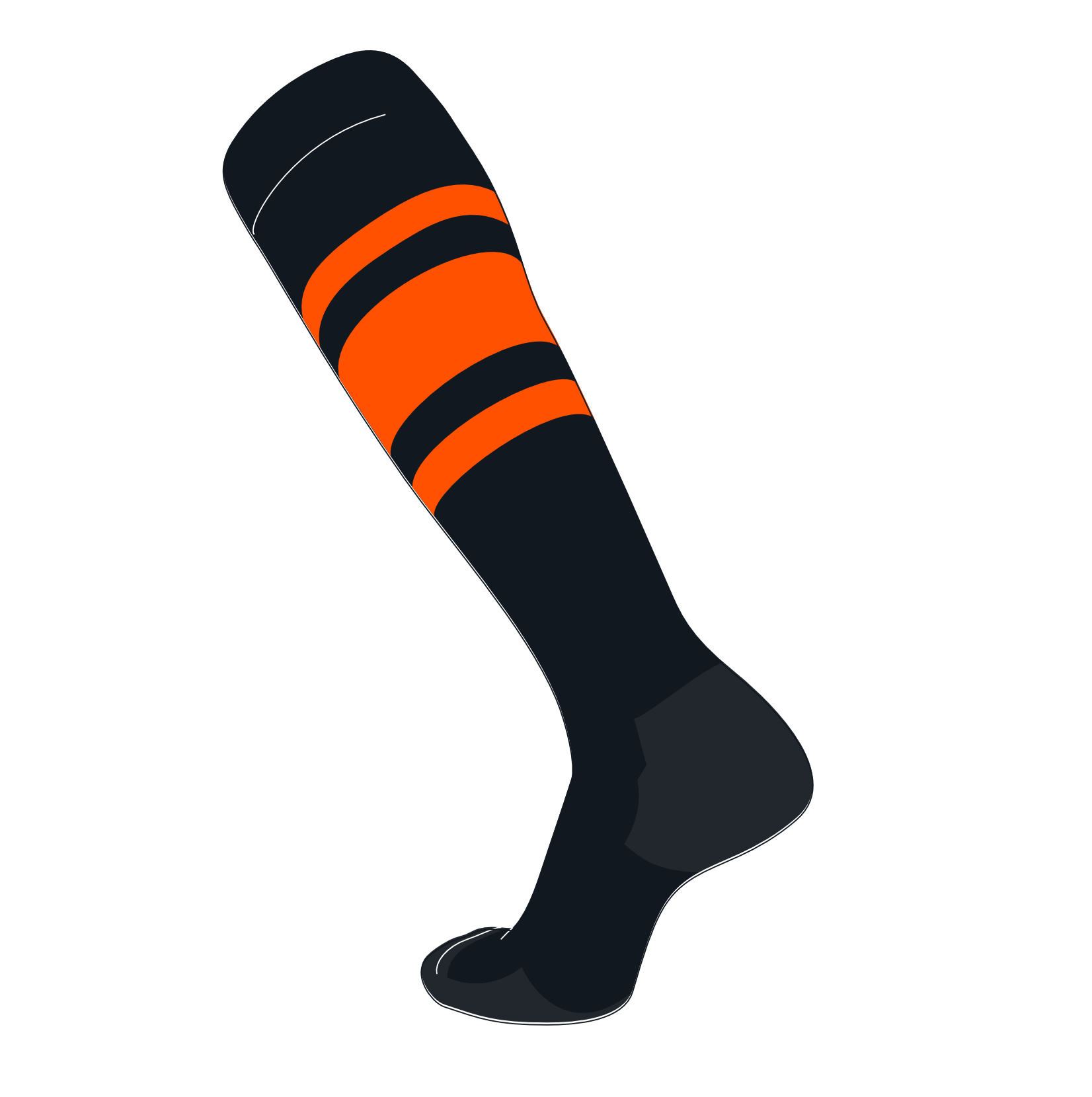TCK Elite Baseball Football Knee High Striped Socks (C) Black, Orange