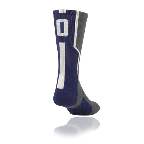 TCK Player ID Jersey Number Crew Socks Navy Blue, Graphite, White Singles