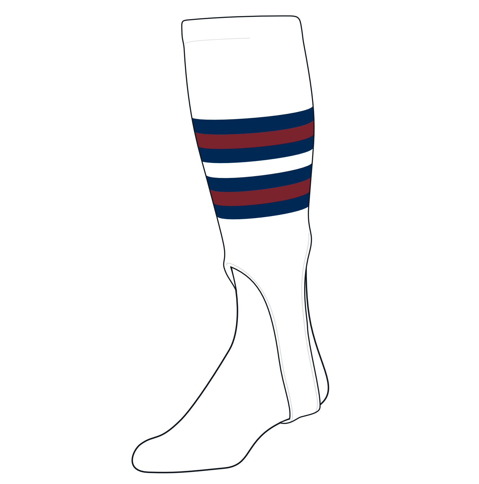 TCK Baseball Stirrups Medium (200I, 7in) White, Navy, Cardinal