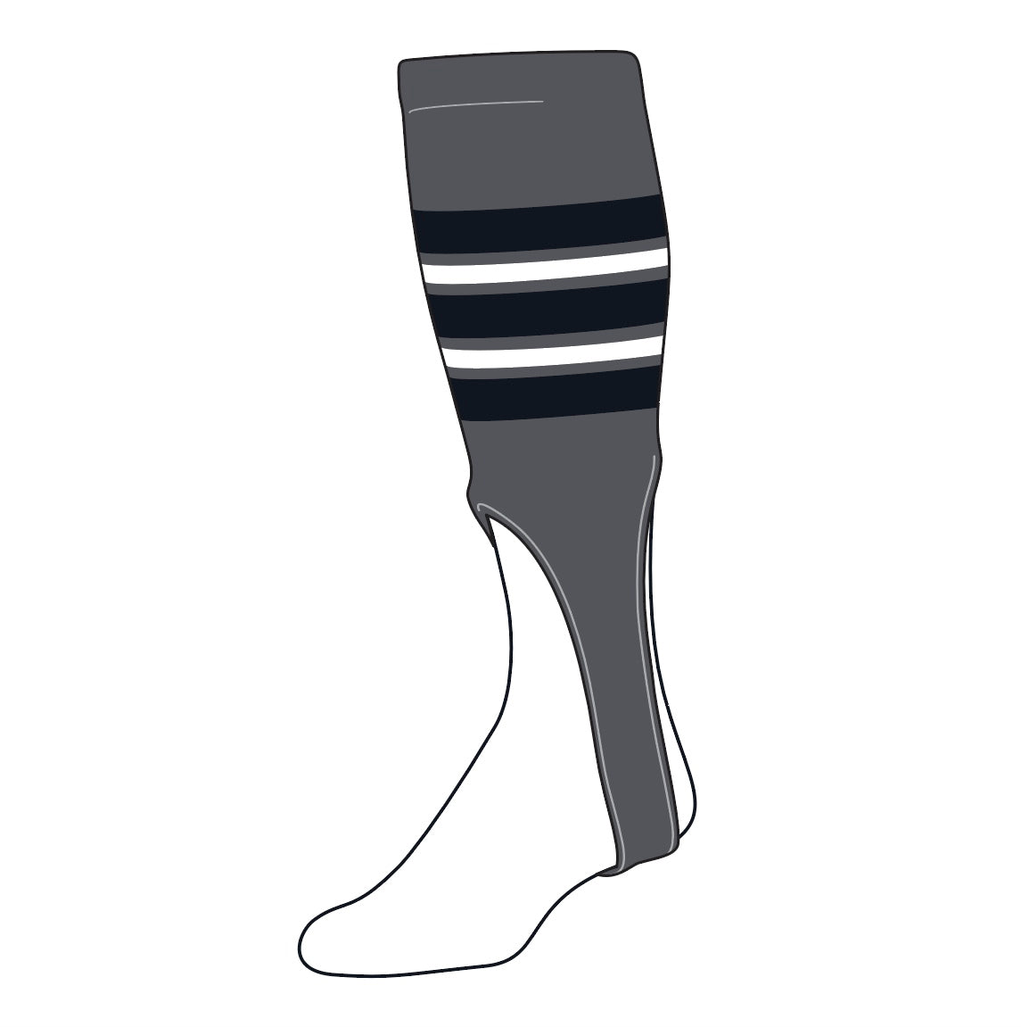 TCK Baseball Stirrups Medium (200F, 9in) Graphite, Black, White