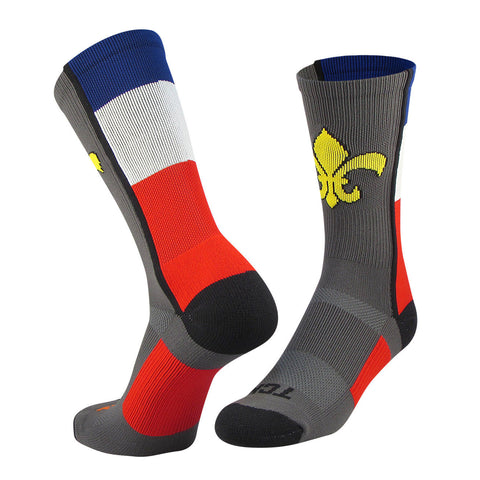 TCK Elite France Flag Royalty fleur de lis Graphite,Red,Blue,White Crew Socks