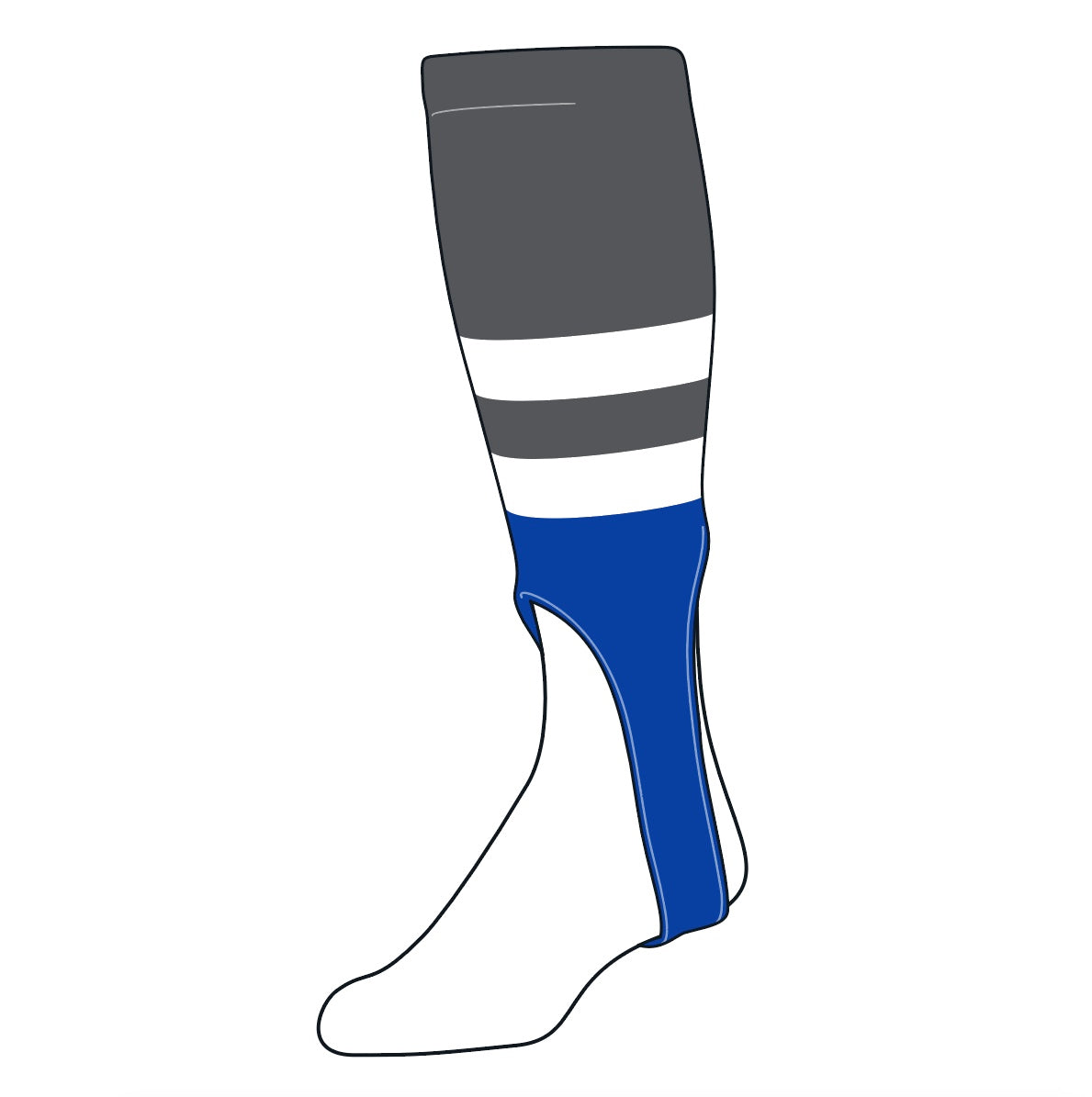 TCK Baseball Stirrups Medium (200G, 7in) Graphite, White, Royal