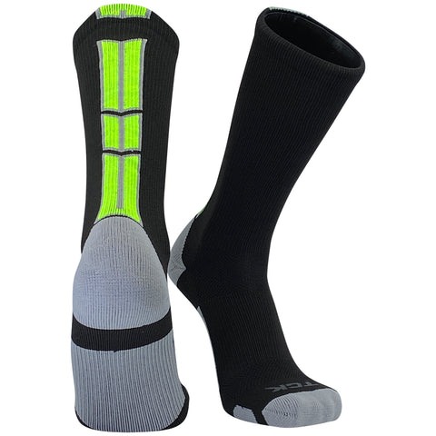 TCK Baseline 3 Elite Basketball Football Crew Socks Black, Grey, Neon Green