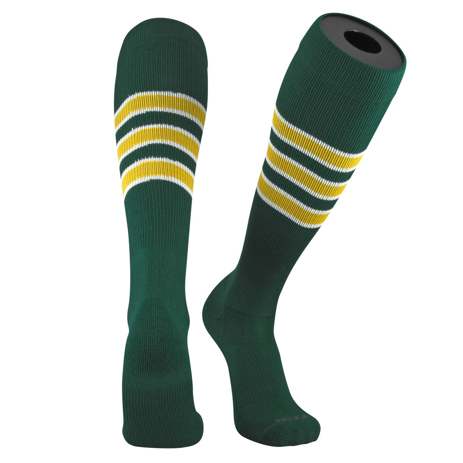 TCK Pro Elite Oakland Dark Green, White, Gold Knee-High Long Striped Socks