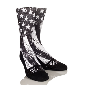 Rock 'Em Apparel Stars & Stripes BW Lifestyle Originals Graphic Sock, Black/White, Large/X-Large