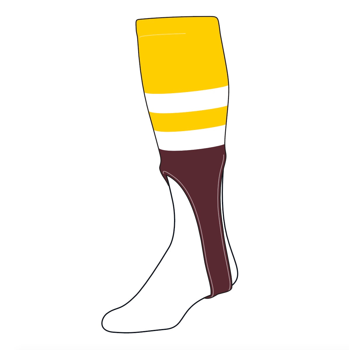 TCK Baseball Stirrups Medium (200G, 9in) Gold, White, Maroon