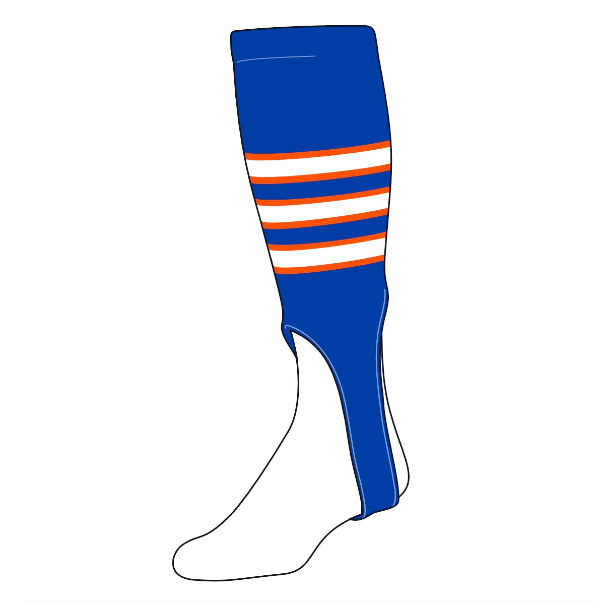 TCK Baseball Stirrups Large (300D, 7in) Royal, Orange, White