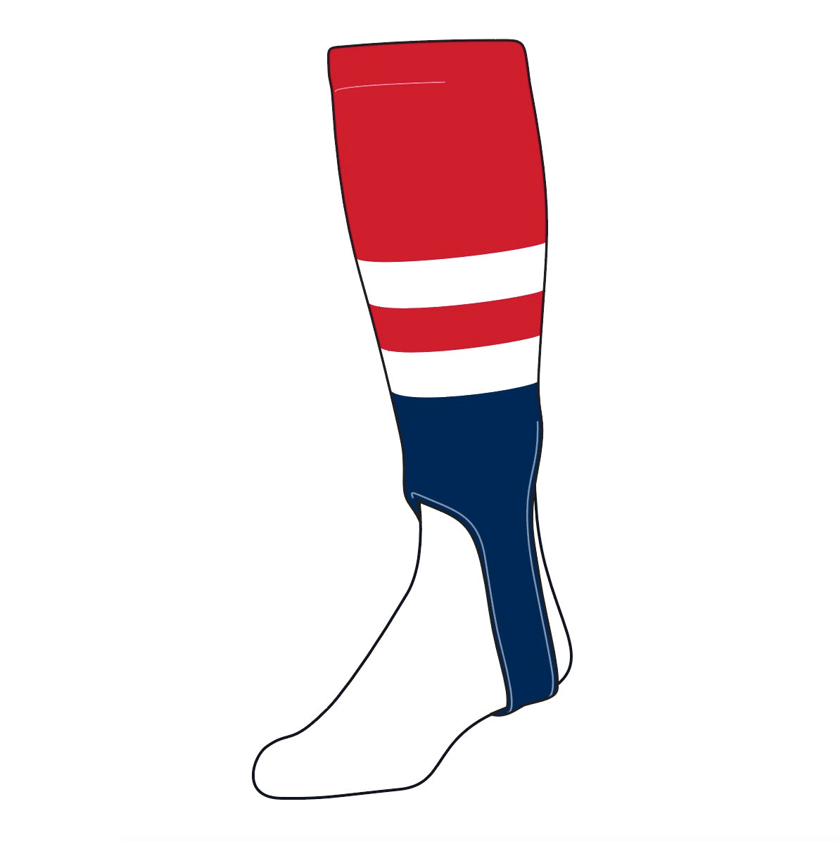 TCK Baseball Stirrups Medium (200G, 5in) Red, White, Navy