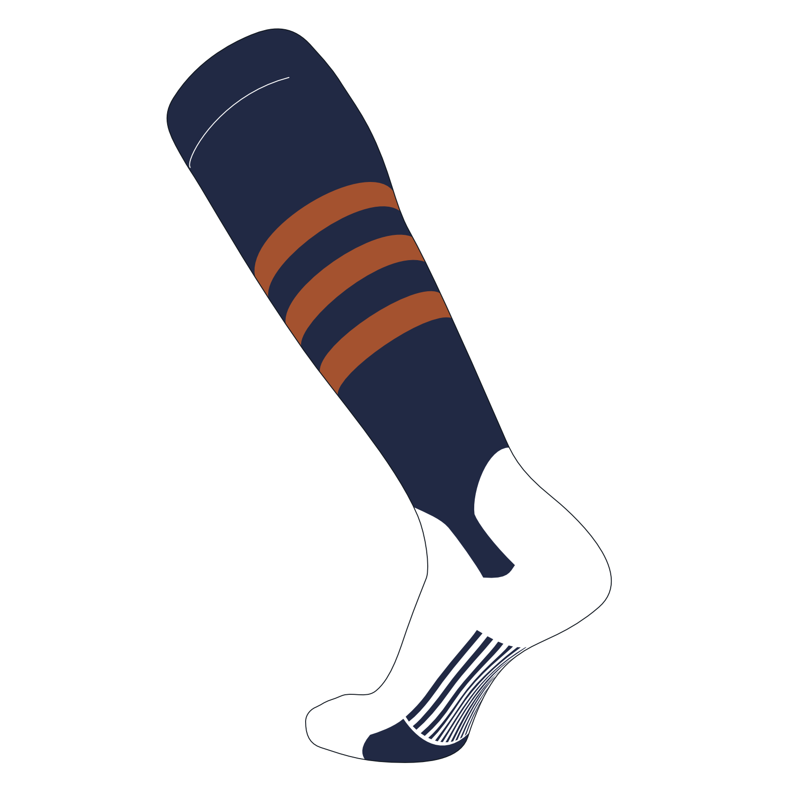 TCK Elite Baseball Knee High Stirrup Socks (B, 5in) Dk Navy, Texas Orange