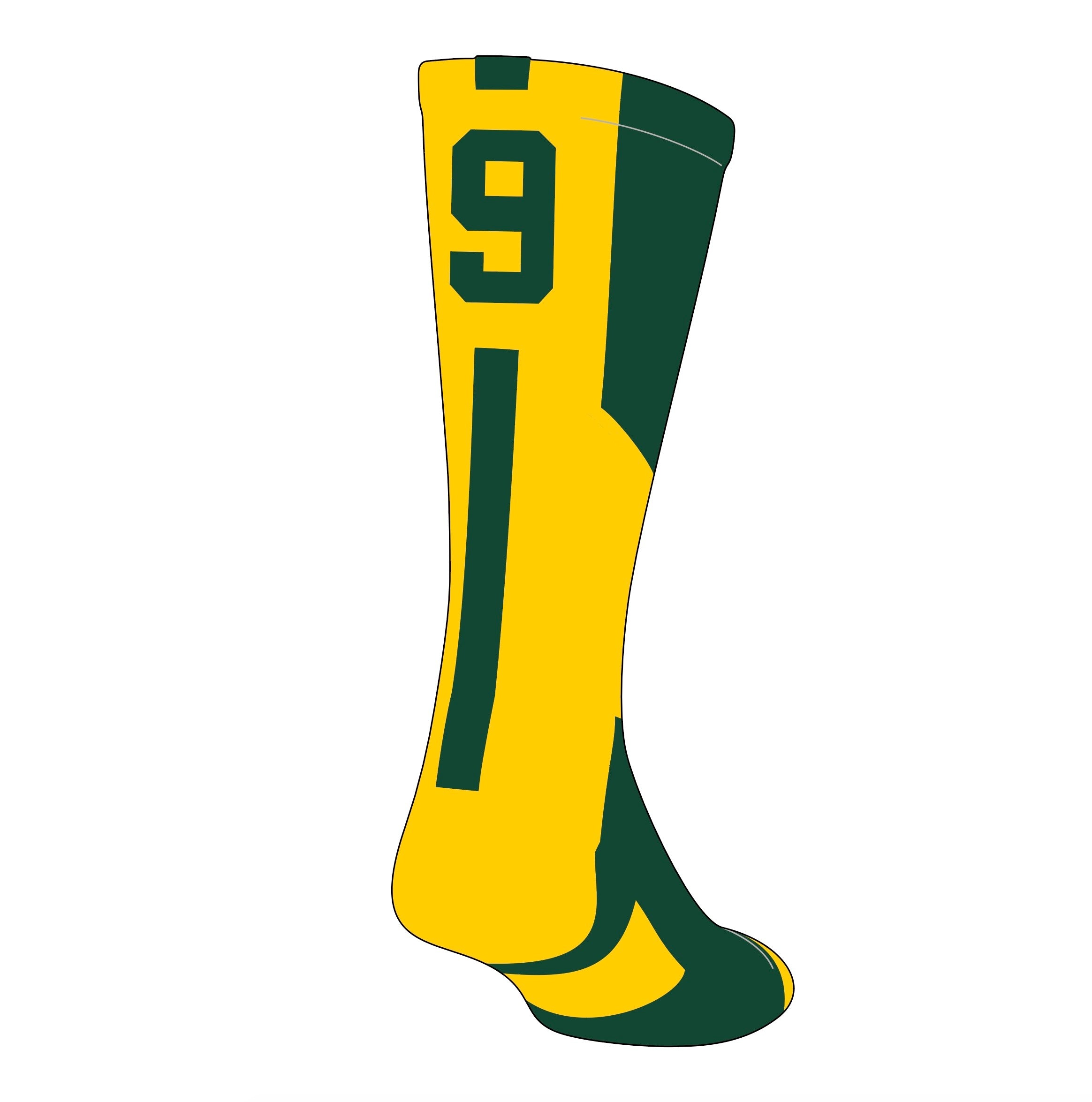 TCK Player ID Jersey Number Crew Socks Dark Green Gold Singles