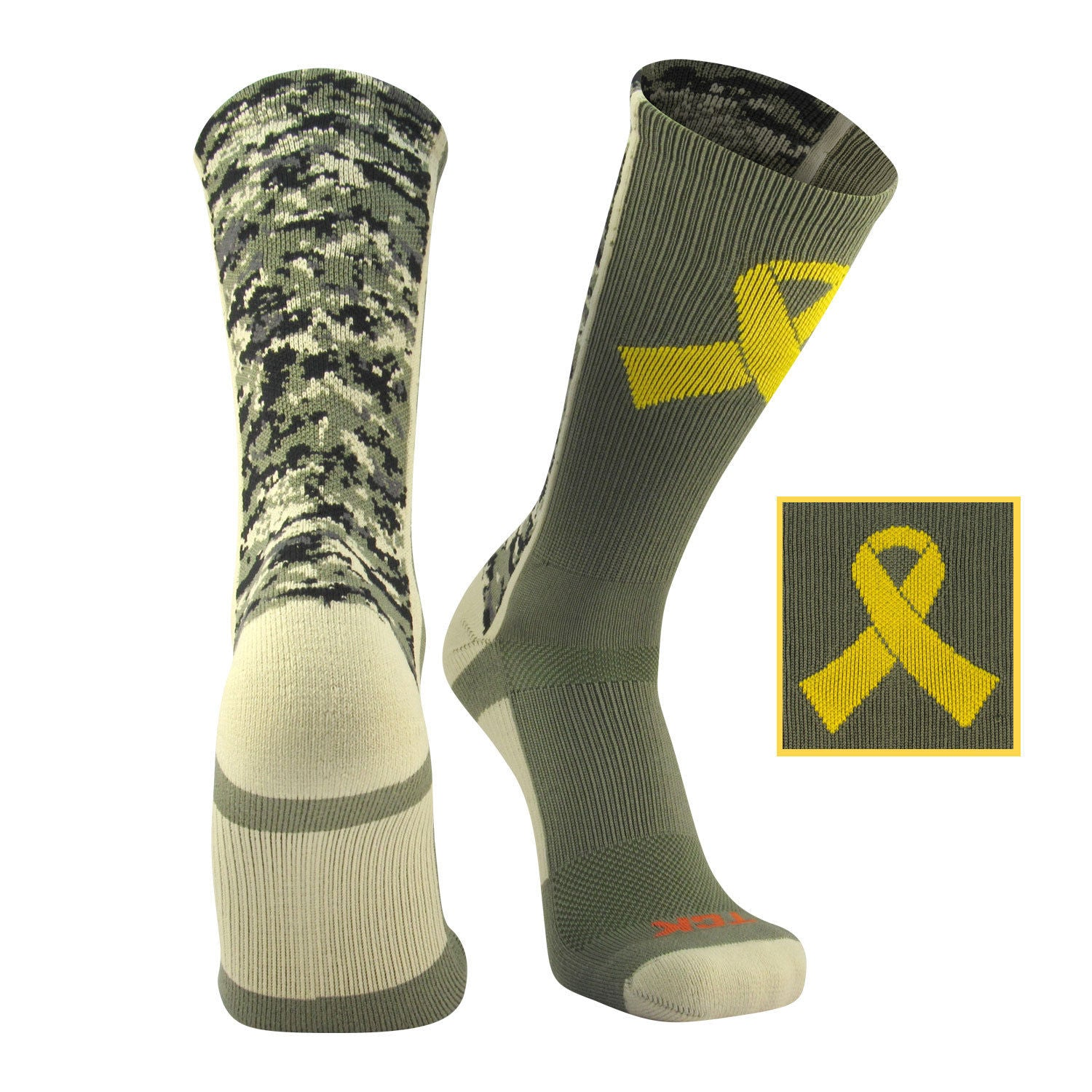 TCK Digital Camo Elite - Military Ribbon Crew Socks - proDRI fabric