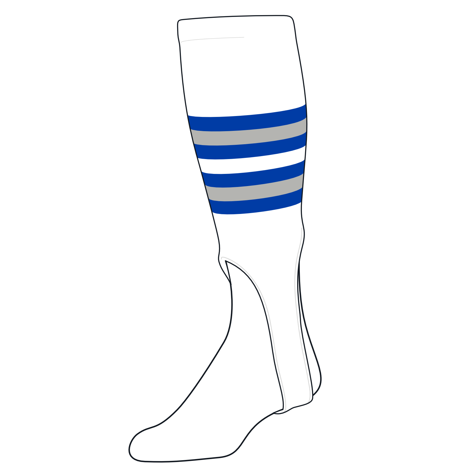 TCK Baseball Stirrups Medium (200I, 7in) White, Royal, Grey