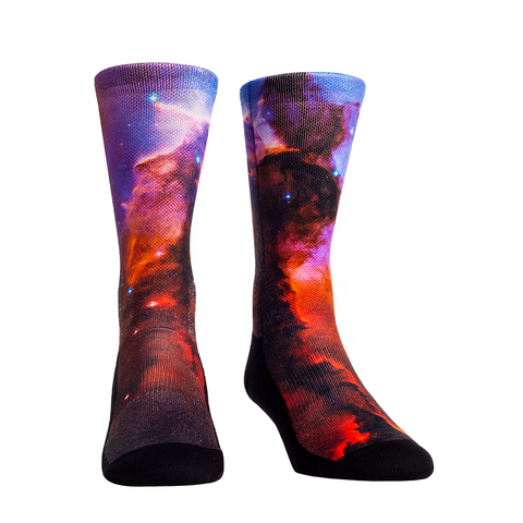 Rock Em Elite Outer Space Blue Pillar Galaxy Crew Socks