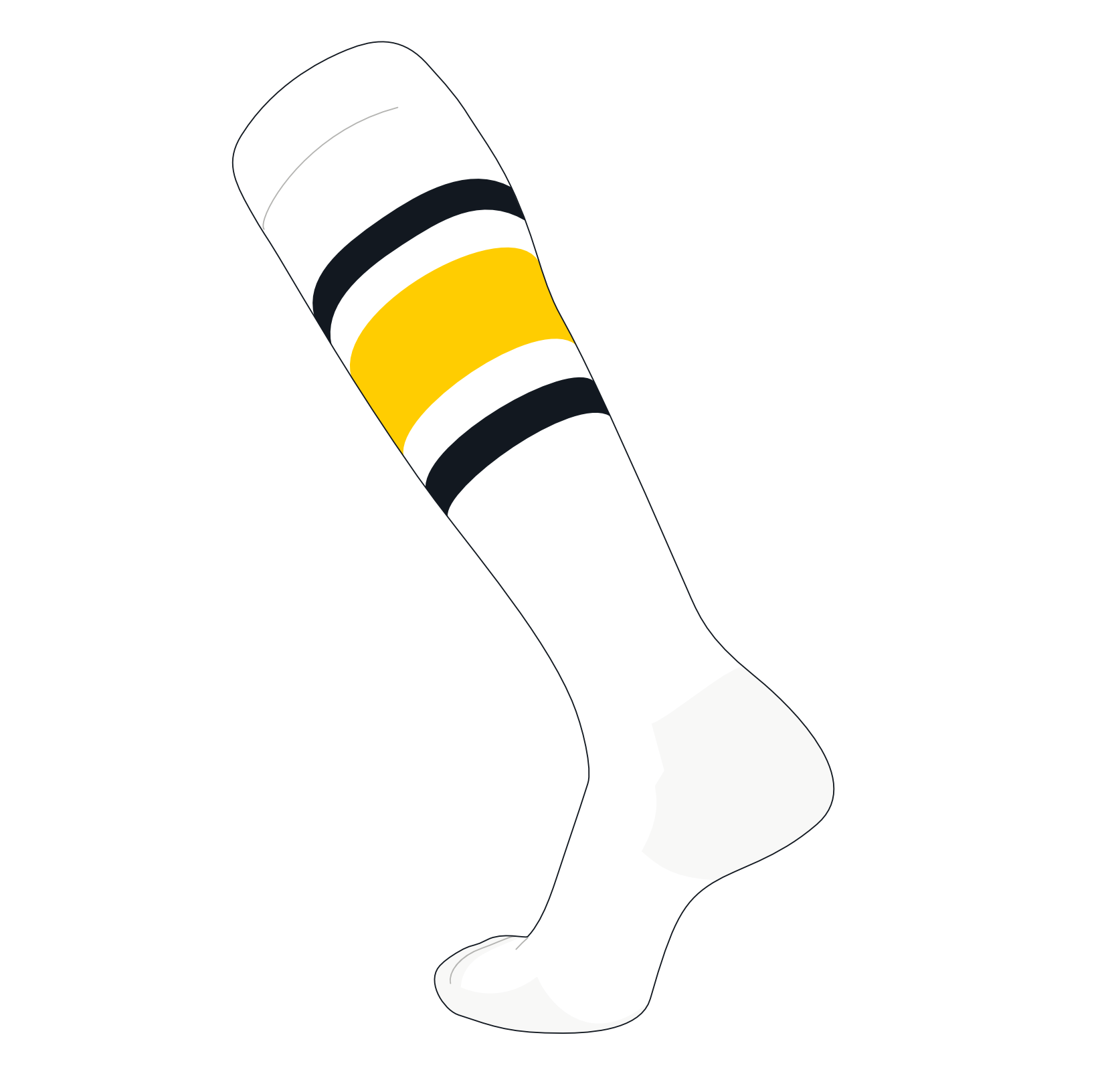 TCK Elite Baseball Football Knee High Striped Socks (E) White, Black, Gold