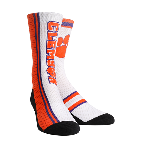 Rock 'Em Elite, Clemson Tigers - 2017 Jersey Series White, Licensed Crew Socks