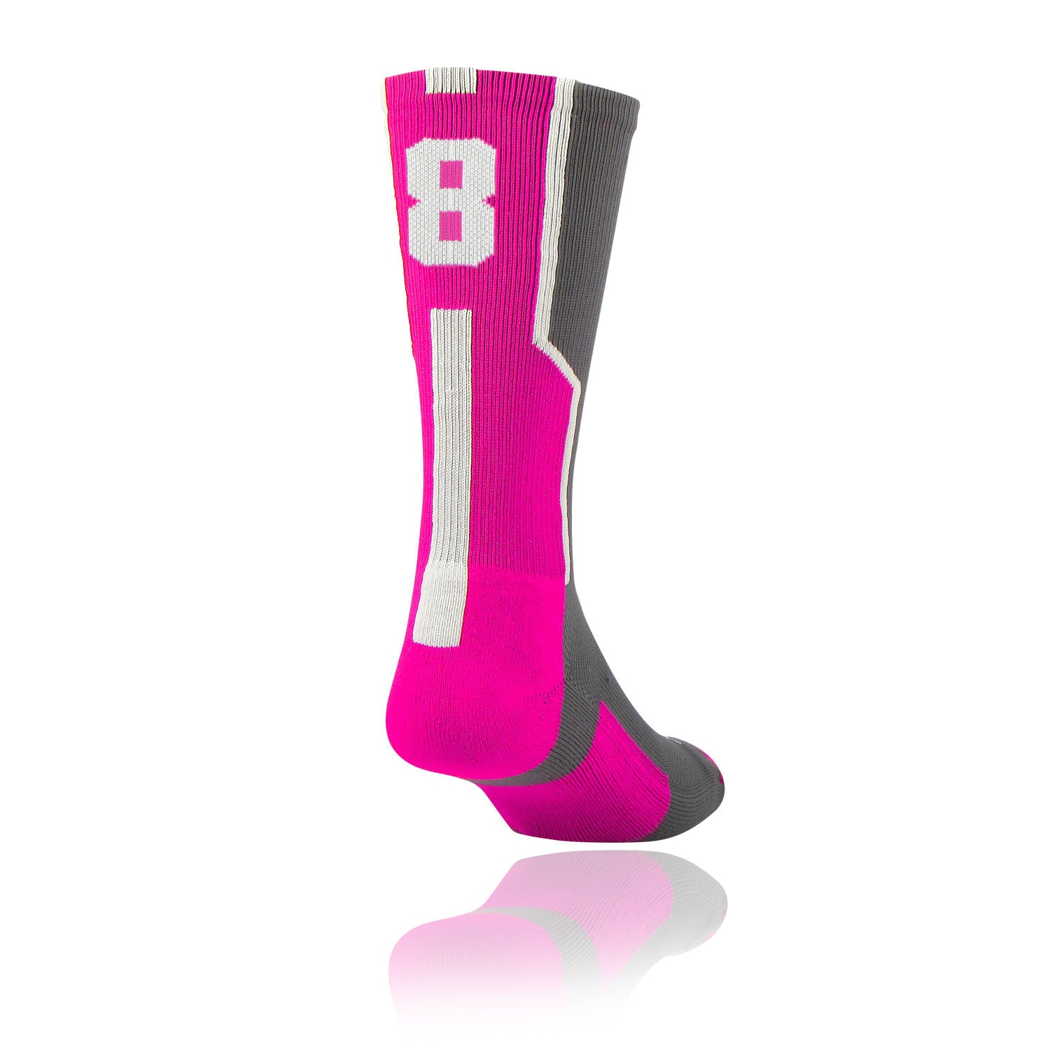 TCK Player ID Jersey Number Crew Socks Hot Pink, Graphite, White Singles