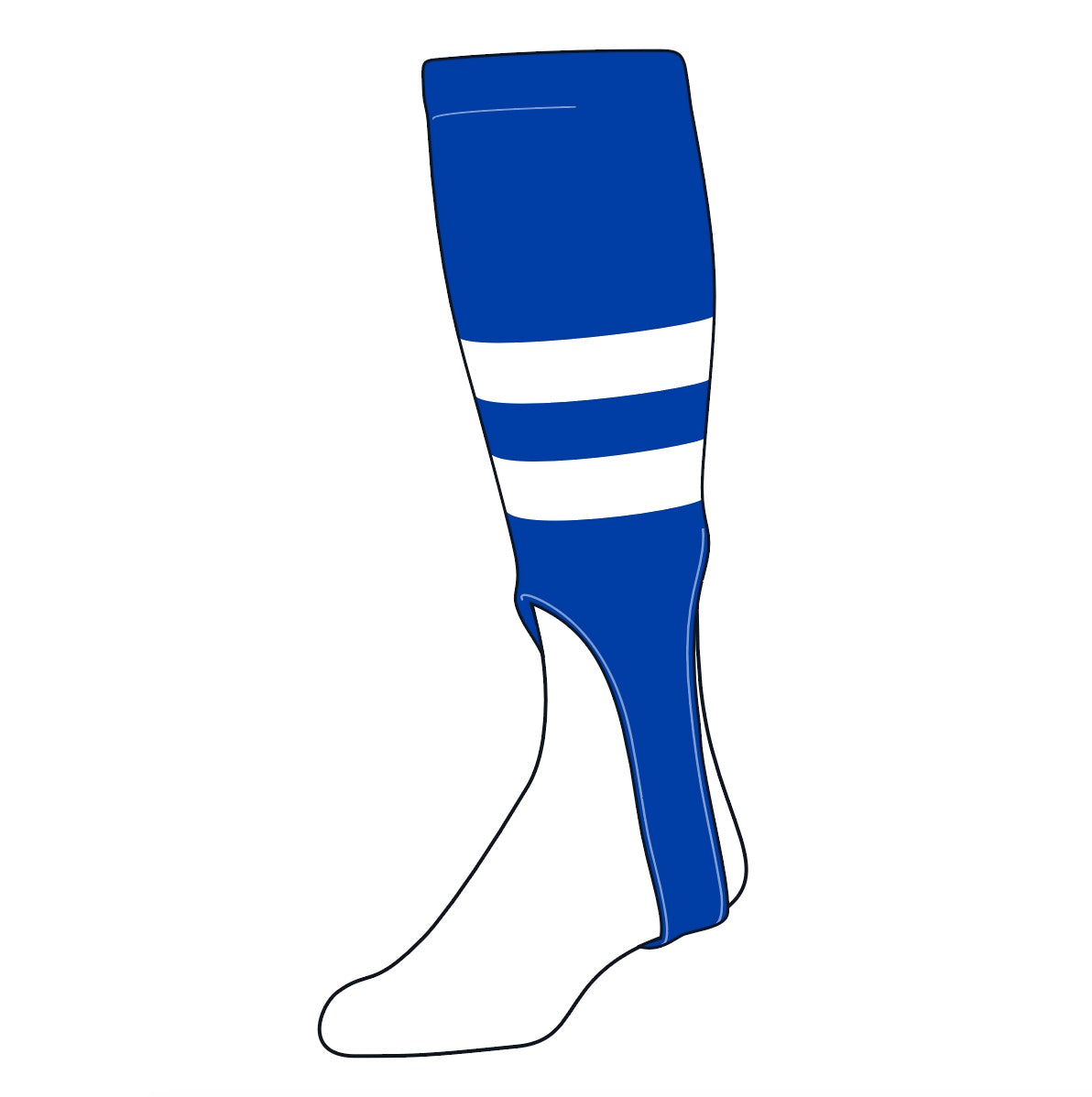 TCK Baseball Stirrups Medium (200G, 7in) Royal, White, Royal