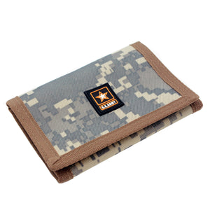 US Army Mens Trifold Nylon Camo Hook and Loop Wallet