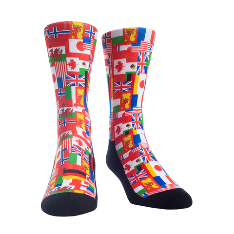 Rock Em Elite Theme Park: World Showcase Flags Crew Socks
