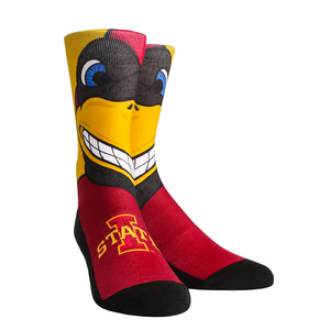 Rock Em Elite Iowa State Cyclones Cy The Cardinal Mascot Crew Socks