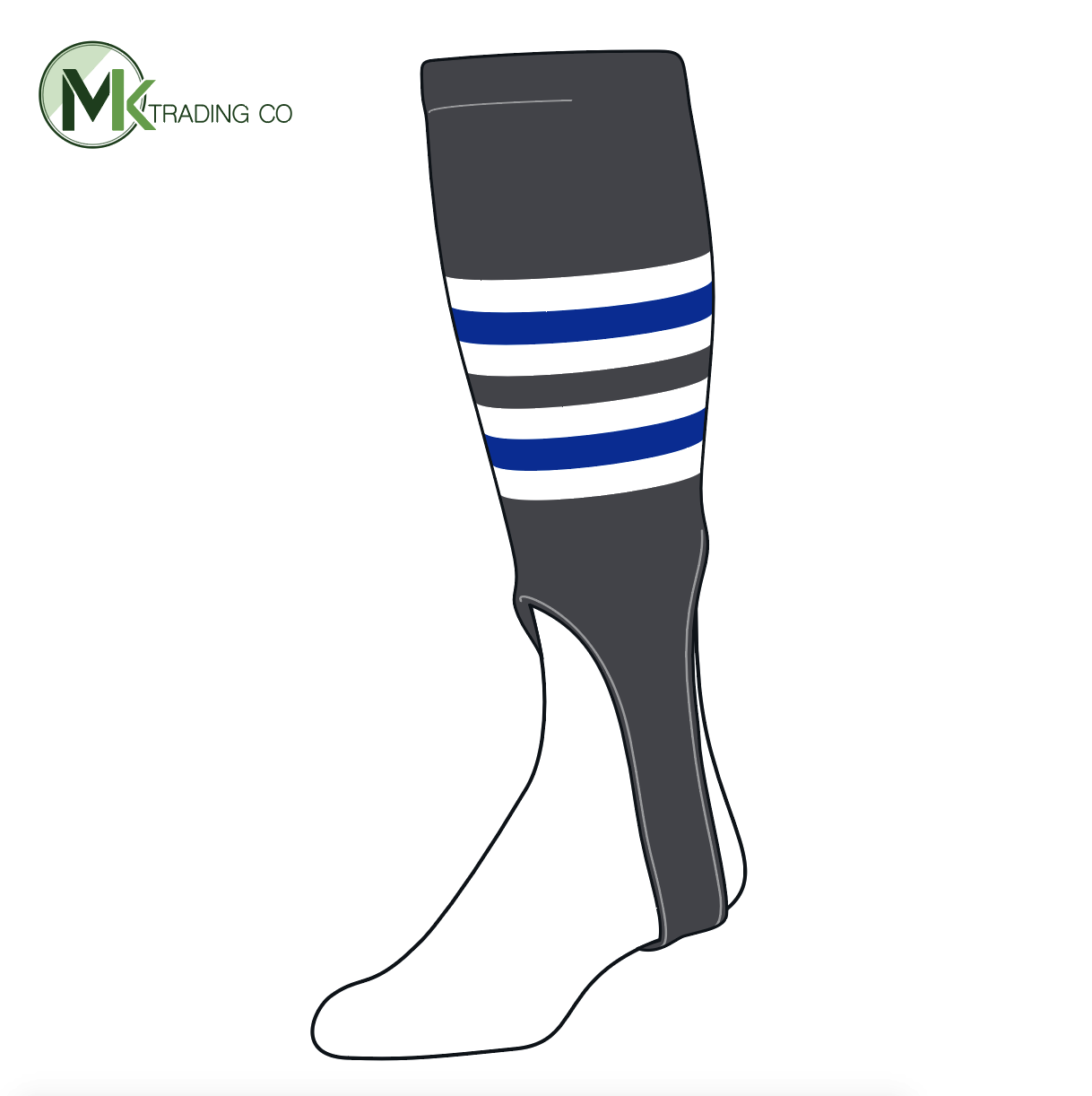 TCK Baseball Stirrups Medium (200I, 7in) Graphite, White, Royal