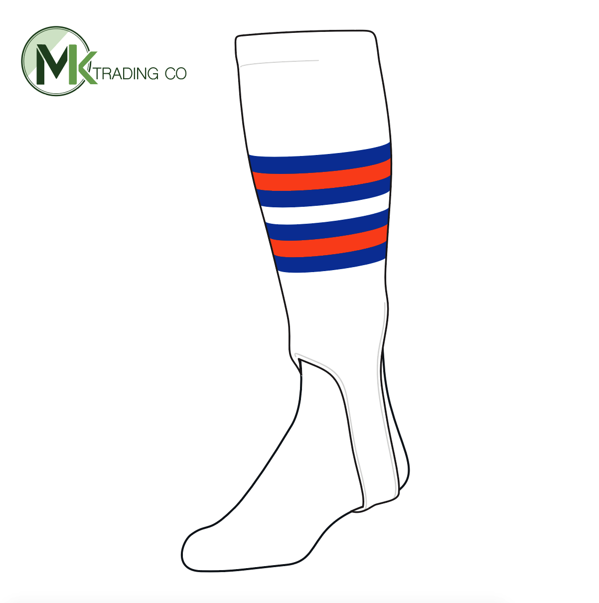 TCK Baseball Stirrups Medium (200I, 5in) White, Royal, Orange