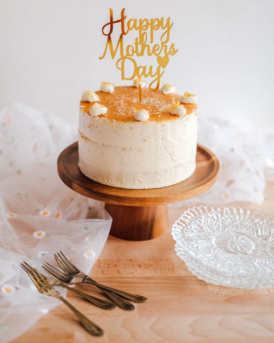 Gold Happy Mother's Day Heart Cake Topper
