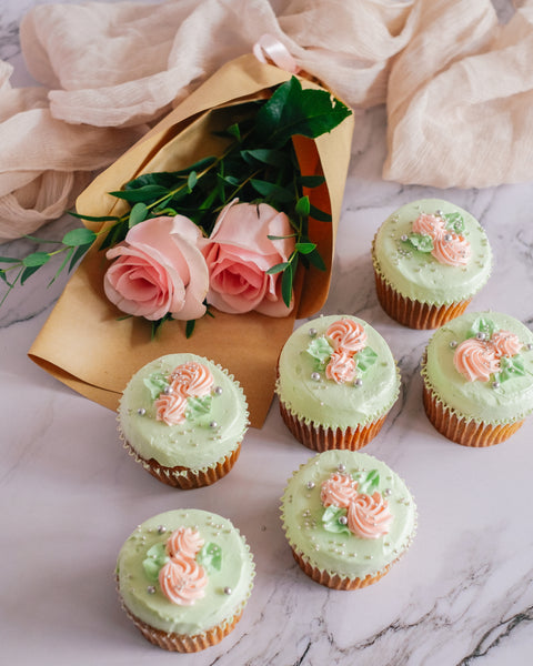 Pistachio Rose Cupcake Gift (Small)