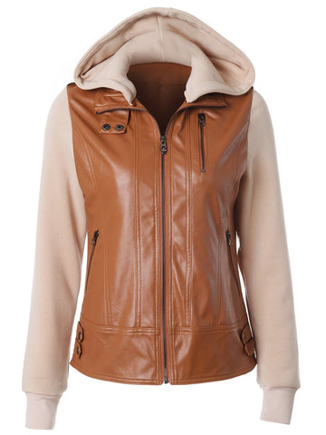 Detachable Hood Stitching Zipper Jacket