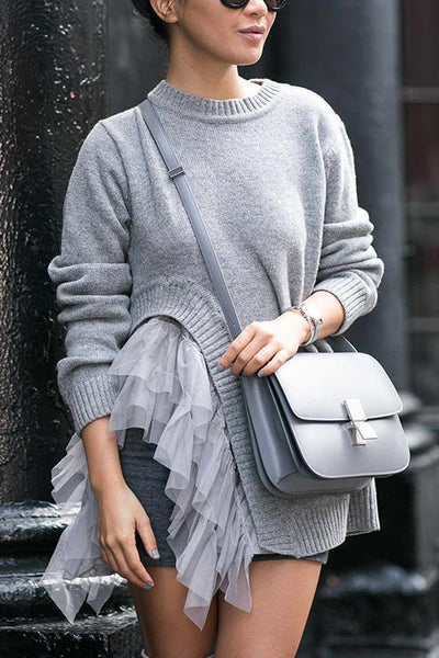 Slit Mesh Patchwork Sweater