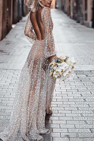 See Through Backless Maxi Dress