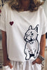 Heart Dog Print Short Sleeve T Shirt
