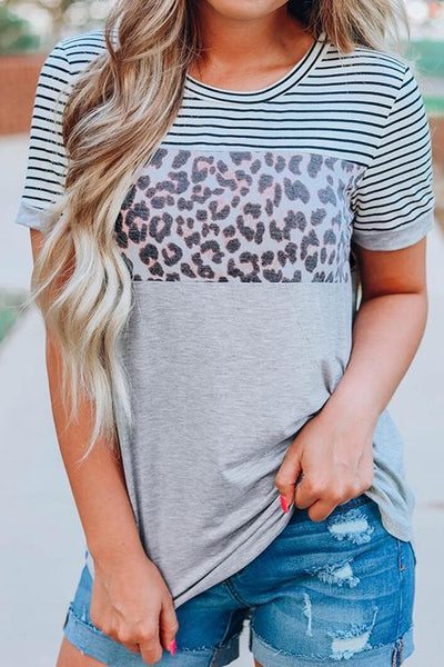 Striped Leopard Printed T-Shirt