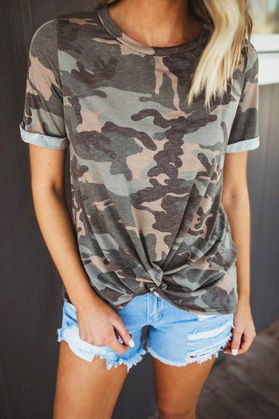 Camouflage Print Knot T Shirt