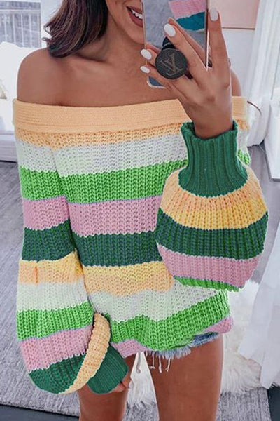 Color Block Off Shoulder Puff Sweater