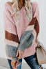 Stripe V Neck Puff Loose Sweater