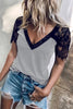 Stripe Lace V Neck T Shirt