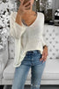 V Neck Knit Long Sleeve T Shirt