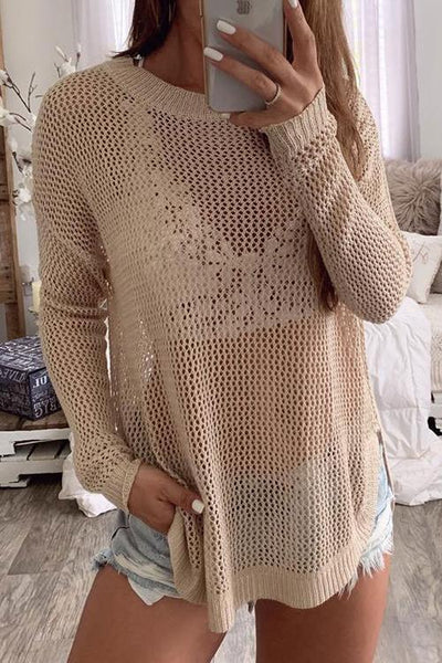 Hollow Side Slit Sweater