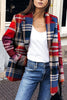 Turndown Collar Plaid Long Sleeve Coat