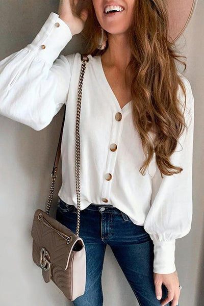 Button Puff Sleeve Shirt