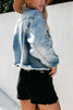 Ripped Button Crop Denim Coat